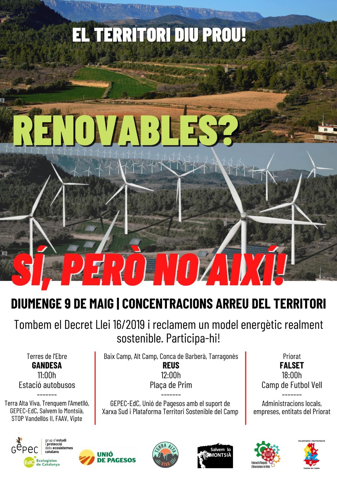 Cartell movilizaciones contra las instalaciones de renovables